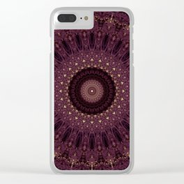 Mandala in dark purple and golden colors Clear iPhone Case