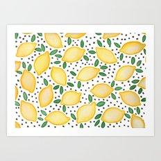 Lemon Dots Art Print