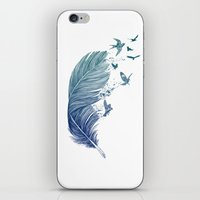 fly iPhone & iPod Skins featuring Fly Away by Rachel Caldwell