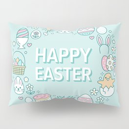 Happy Easter Wreath Aqua Bunny Eggs and Baskets - Pastel Teal Pillow Sham