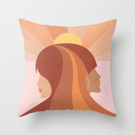 Soul Sisters - Girl power portrait Throw Pillow