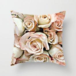 Delicate Peach Roses Throw Pillow
