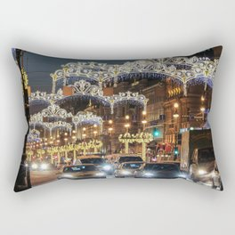 Light decorations on Nevsky Prospect. Rectangular Pillow