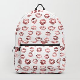 Girly Fashion Lips Rose Gold Lipstick Pattern Backpack