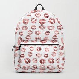 Girly Fashion Lips Rose Gold Lipstick Pattern Backpack