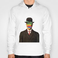 magritte Hoodies featuring Son of Apple Parody René Magritte by eatpersonality