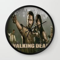 the walking dead Wall Clocks featuring Walking Dead by store2u