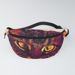 squinting maine coon cat vector art late sunset Fanny Pack