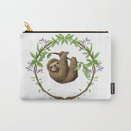 Sloth in Jungle Wreath Carry-All Pouch