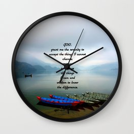 Serenity Prayer With Phewa Lake Panoramic View Wall Clock