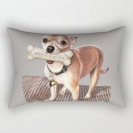 Little Dog, Big Bone Rectangular Pillow