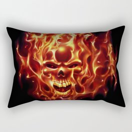 Flaming Skull Rectangular Pillow