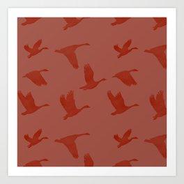 Flying Bird Pattern | Red Mood Art Print