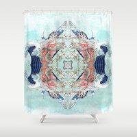 hokusai Shower Curtains featuring Hokusai Mandala by PatriciaRoberta