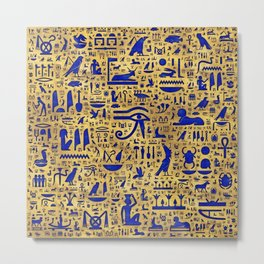 Egyptian hieroglyphic Lapis Lazuli and Gold Metal Print