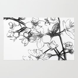 Cherry Blossoms Minimal Drawing Rug