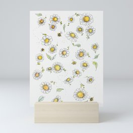 Bees and Daisies Mini Art Print