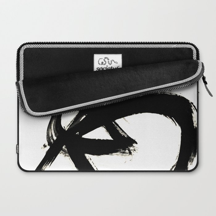 Brushstroke 3 - a simple black and white ink design Laptop Sleeve