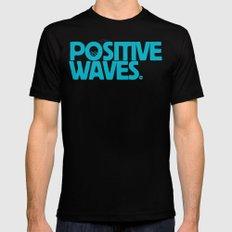 Positive Waves (Blue) Mens Fitted Tee MEDIUM Black