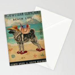 Beach Life Sandy Toes Norwegian Elkhound dog gift Stationery Cards