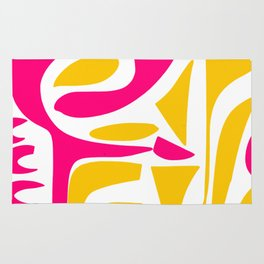 Summer Pop abstract pattern pink and yellow Rug