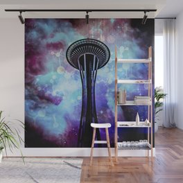 Space Needle - Seattle Stars Clouds Fog Wall Mural