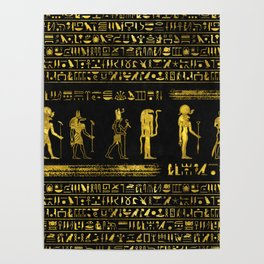 Golden Egyptian Gods and hieroglyphics on leather Poster