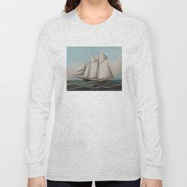 Vintage Schooner Sailboat Illustration (1887) Long Sleeve T-shirt