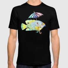 Fishy Fish - Original Watercolor of Yellow Mask Angel Fish with Umbrella MEDIUM Black Mens Fitted Tee