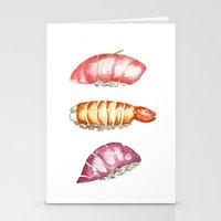 sushi Stationery Cards featuring Sushi  by kristinesarleyart