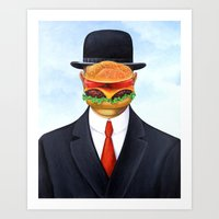magritte Art Prints featuring Magritte Burger by Scott Partridge