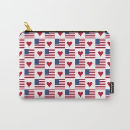 flag of the usa 9 with heart Carry-All Pouch