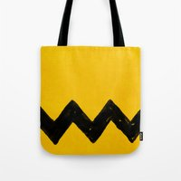 charlie brown Tote Bags featuring Charlie Brown by Aaron Lockwood