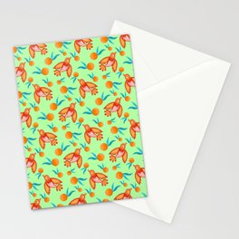 Little pretty swallows birds, bright lovely juicy ripe oranges vintage retro lime green pattern Stationery Cards