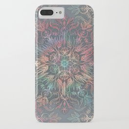 Winter Sunset Mandala in Charcoal, Mint and Melon iPhone Case