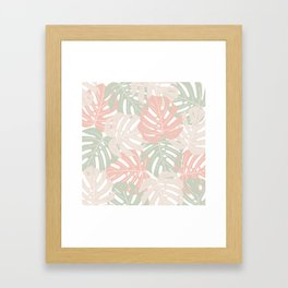 Pastel monstera leaves Jungle leaves Tropical Leaves Framed Art Print