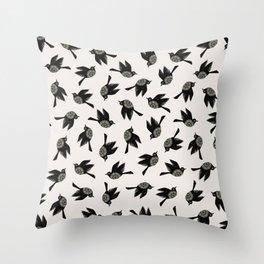 Blackbirds Flying Throw Pillow