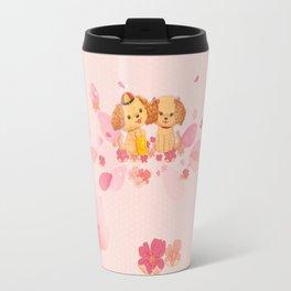 dog couple sweet sakura Travel Mug