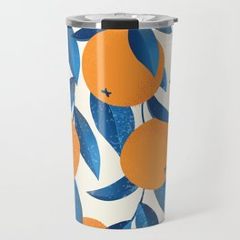 Vintage oranges on the branches with blue leaves hand drawn illustration pattern Travel Mug