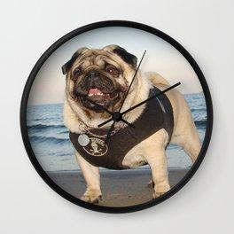 Pug at the beach,seaside theme dog,beach dog print,seaside dog print,dogs at the beach,dog wall art Wall Clock