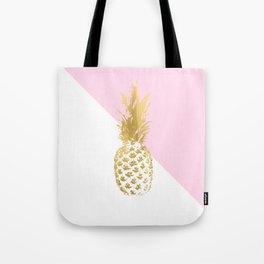 Pink white colorblock gold geometrical pineapple Tote Bag