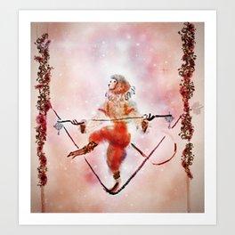 Circus Monkey On Tightrope Art Print