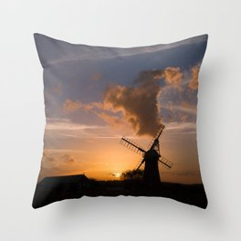 Sunset on the Norfolk Broads Throw Pillow