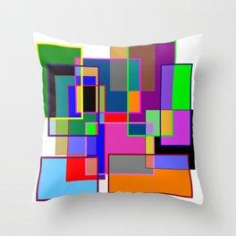 Colour collage white Throw Pillow