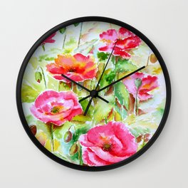 Watercolor pink and red poppies Wall Clock