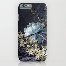 Taupe Turquoise Textured Classic Floral iPhone Case