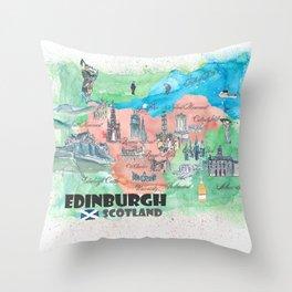 Edinburgh Scotland Illustrated Travel Poster Favorite Map Throw Pillow
