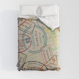 World Traveler Passport Stamp Vintage Design Comforters
