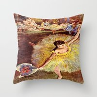 degas Throw Pillows featuring Dancer with Bouquet by PureVintageLove
