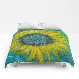 Sunflowers on Turquoise II Comforters